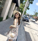 ❤Princess x Shop❤春夏新款碎花雪紡氣質吊帶裙DP805261正韓洋裝一字領露肩性感