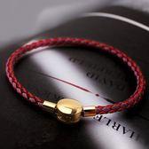 8折免運 3.0mm鋼絲線手繩可穿3D硬金轉運珠狗年本命年紅繩手鍊