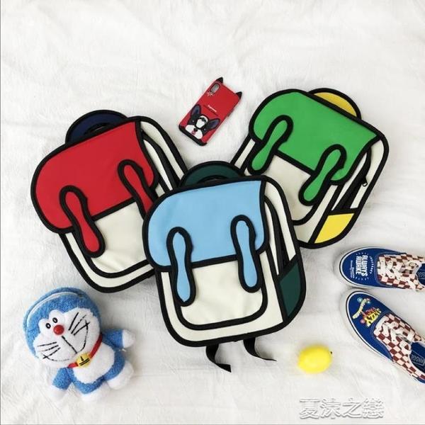 雙肩包-二次元創意背包韓系可愛校園立體3d寶寶漫畫雙肩包韓國兒童小書包  夏沫之戀