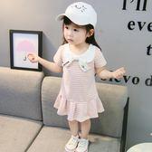 1-4歲女寶寶夏季連衣裙2018新款韓版洋氣2女童裙子條紋3小童夏裝0