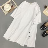 T恤女 短袖女2020年夏季中長款白色t恤女新款韓版寬鬆學生大碼上衣ins潮  萬聖節狂歡