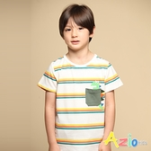 Azio 男童 上衣 配色口袋恐龍印花橫條紋短袖上衣T恤(白) Azio Kids 美國派 童裝