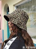 ins日系秋冬季復古時髦豹紋漁夫帽雙面戴加厚百搭韓版休閒盆帽女 滿天星