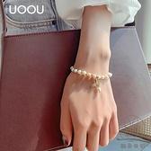 日韓簡約甜美圓珠手串女天然淡水珍珠手鏈美人魚尾手飾品【貼身日記】