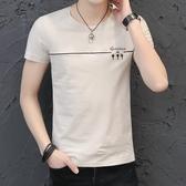 短袖T恤 2020新款男士短袖t恤圓領丅半袖個性韓版潮流夏季男裝修身上衣服