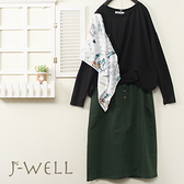 J-WELL 兩穿花布設計款上衣小A版型裙二件組(組合A572 9J1075黑+9J1092綠)
