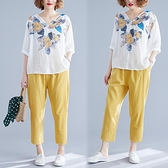 胖mm休閒套裝寬鬆夏季韓版顯瘦印花襯衫棉麻哈倫褲大碼女裝兩件套