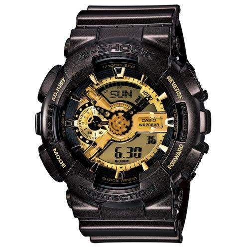 CASIO/G-SHOCK/雙顯人氣不敗潮流運動錶/黑金/GA-110BR-5ADR