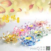 水晶七彩蓮花燈 佛教用品供佛燈長明燈酥油燈佛堂佛具燭台裝飾 【PINK Q】