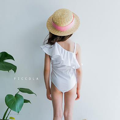 兒童水母衣游泳衣女孩韓版連體寶寶溫泉服兒童純色露肩裙式泳裝 nm2796 【Pink中大尺碼】