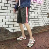 夏季新款條紋運動短褲潮流男士休閒五分褲學生正韓男褲子【萬聖節全館大搶購】