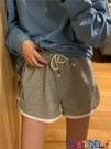 運動短褲 小個子高腰運動短褲女休閒褲子夏季2021新款夏季寬鬆灰色闊腿熱褲 寶貝計畫 618狂歡