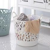 洗衣籃 臟衣簍 鏤空印花大號臟衣籃手提收納籃塑料衣服籃透氣整理籃 家用收納筐 igo克萊爾
