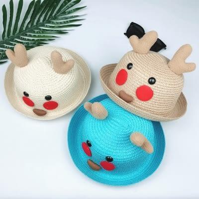 遮陽帽 韓版小鹿草帽女童夏季太陽帽寶寶兒童帽子可愛男童