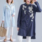 棉麻 刺繡直條紋長襯衫外套-多尺碼 獨具衣格 J2468