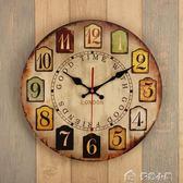 14寸復古鐘錶掛鐘客廳家用臥室簡約時鐘圓形創意靜音掛錶掛件igo父親節特惠下殺