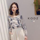 東京著衣【KODZ】KODZ-清新甜美滿版葉片蝴蝶結造型一字領上衣-S.M.L(190089)