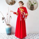 中式婚紗 孕婦敬酒服新娘紅色中式顯瘦訂婚結婚禮服薄回門服女 『歐韓流行館』