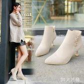 秋冬新款尖頭百搭高跟顯瘦細跟短靴短筒踝靴 QQ10681『東京衣社』