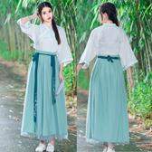 夏新款連衣裙女中國風古裝風飛袖繡花束腰漢服女交領民族服裝襦裙