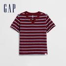 Gap男幼童 棉質條紋設計V領短袖T恤 584570-紅色條紋