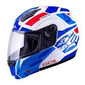 [東門城] SOL SM-3 戰將 白/藍紅 雙重排氣系統 通風性佳 快拆式鏡片 雙D釦 可掀式安全帽