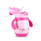 天使貝貝寶寶嬰兒童吸管杯學飲喝水壺防摔漏嗆帶手柄保溫6-18個月