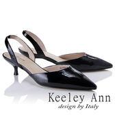 ★2018春夏★Keeley Ann俐落個性~素色漆皮質感真皮尖頭跟鞋(黑色)-Ann系列