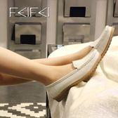 小白鞋護士鞋女單鞋平底休閒媽媽鞋牛皮白色皮鞋平跟牛筋底工作鞋【蘇迪蔓】