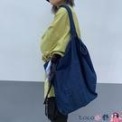 熱賣牛仔包 側背包女韓版網紅同款復古簡約百搭大容量休閒牛仔斜背包背包 coco