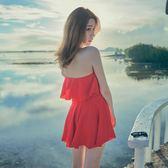韓國白色泳衣女性感掛脖保守連體裙顯瘦遮肚溫泉海邊度假泳裝