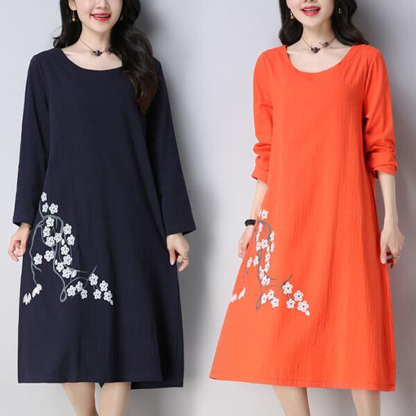 棉麻 下襬印花圓領洋裝 獨具衣格