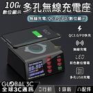 100W 多孔無線快充充電座 無線充電/QC3.0/PD/數位顯示 多孔USB充電 彩色數位螢幕