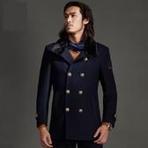 毛呢大衣-羊毛修身翻領毛領中長款男雙排扣外套3色72ar14【巴黎精品】