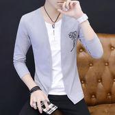 男士長袖T恤男秋季薄款韓版修身上衣假兩件V領衣服夏季外套潮 9號潮人館