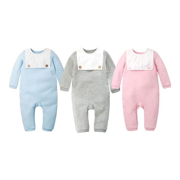 長袖連身衣 造型圍兜 側開扣 男寶寶 女寶寶 爬服 哈衣 Augelute Baby 70013