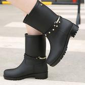 【707】細皮帶PVC中筒耐磨防滑防水磨砂雨鞋 防水皮帶中筒靴
