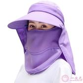 遮陽帽遮陽帽女夏季可折疊遮臉防曬太陽帽大沿防紫外線多功能防曬帽夏天