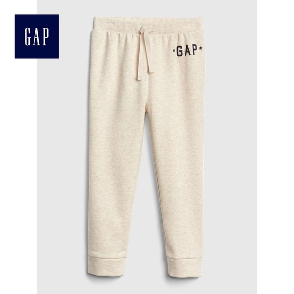Gap女嬰幼童 Logo鬆緊腰抽繩舒適運動褲 497544-米灰色