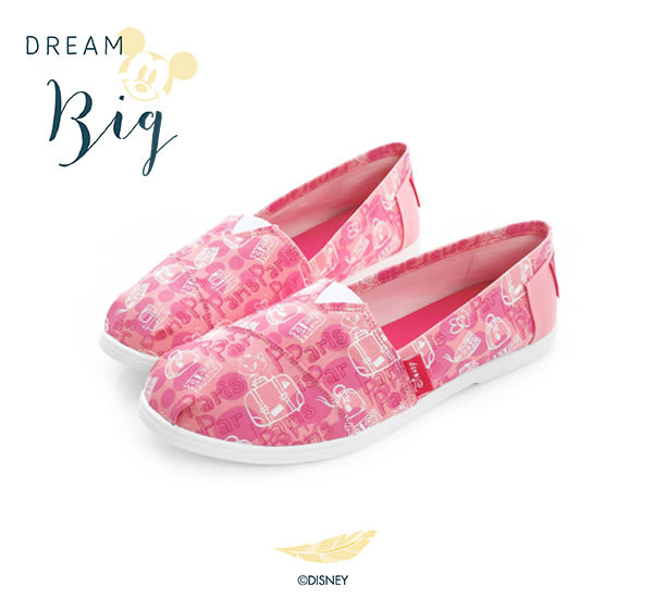 Disney 翻玩時尚~瑪莉貓塗鴉手繪懶人鞋-粉