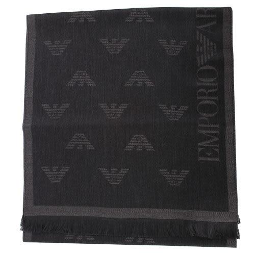 EMPORIO ARMANI 滿版logo雙面羊毛圍巾(鐵灰/黑色)104000-1
