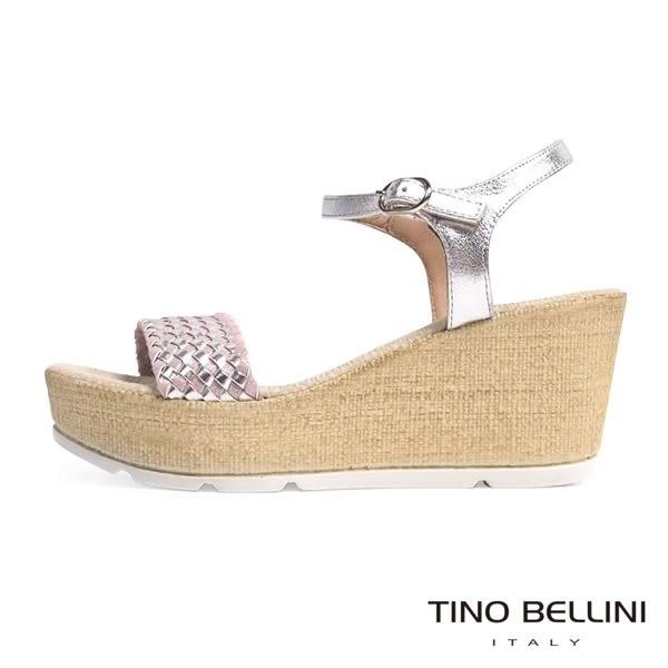 Tino Bellini 西班牙進口雙色編織舒足輕盈楔型涼鞋(粉銀)_A63043  2016SS歐洲進口款