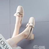 豆豆鞋 2019春秋新款百搭粗跟溫柔晚晚仙女豆豆鞋絨面小皮鞋潮