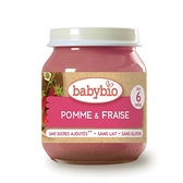 【愛吾兒】法國 Babybio 生機蘋果草莓泥 130g(玻璃罐裝)