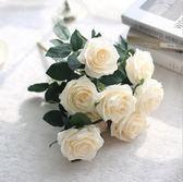 新年鉅惠 藍色十頭把束大玫瑰花新娘婚慶手捧花繡球花粉色白色花朵仿真假花