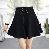 短裙半身裙女A字高腰傘裙百褶蓬蓬裙褲裙打底春夏短裙子黑色