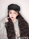 假髮帽適合短頭發戴的蓄發帽子女甜美可愛真毛時尚冬款皮帽子假發一體 coco衣巷