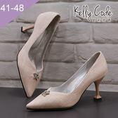 大尺碼女鞋-凱莉密碼-時尚尖頭星星水鑽石紋布酒杯跟高跟鞋7.5cm(41-48)【GR702】粉紅