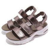 Skechers 涼鞋 D Lites Ultra-Fab Life 灰 白 魔鬼氈 吸震中底 女鞋 涼拖鞋【PUMP306】 32382PEW