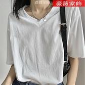 素色T恤 ins超火v領短袖t恤女2021新款純色內搭打底衫半袖寬鬆純棉上衣服 薇薇